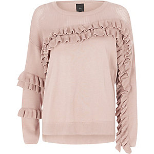 Light pink knit frill front sweater