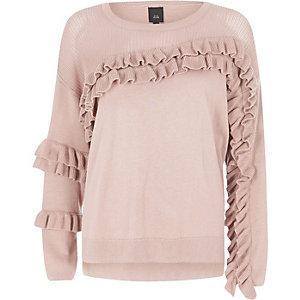 Light pink knit frill front jumper