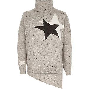 Pull motif étoile gris à col montant et ourlet asymétrique