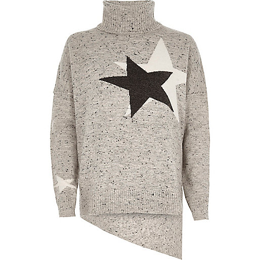 Grey star roll neck asymmetric hem sweater