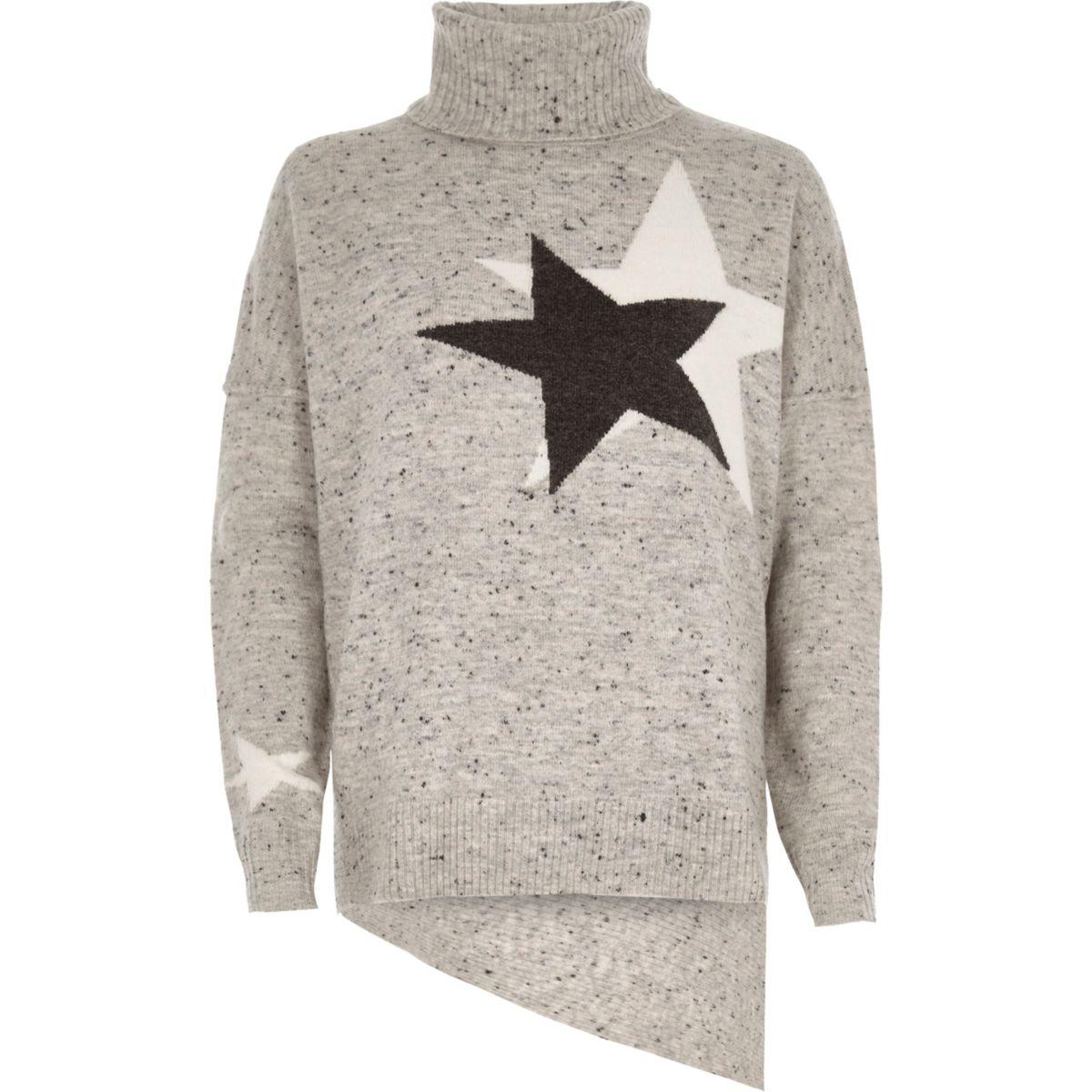Grey star roll neck asymmetric hem jumper