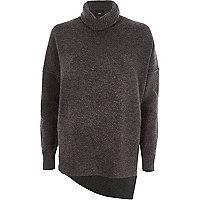 Donkergrijze pullover met col en asymmetrische zoom