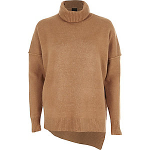 Camel asymmetric hem roll neck knit sweater