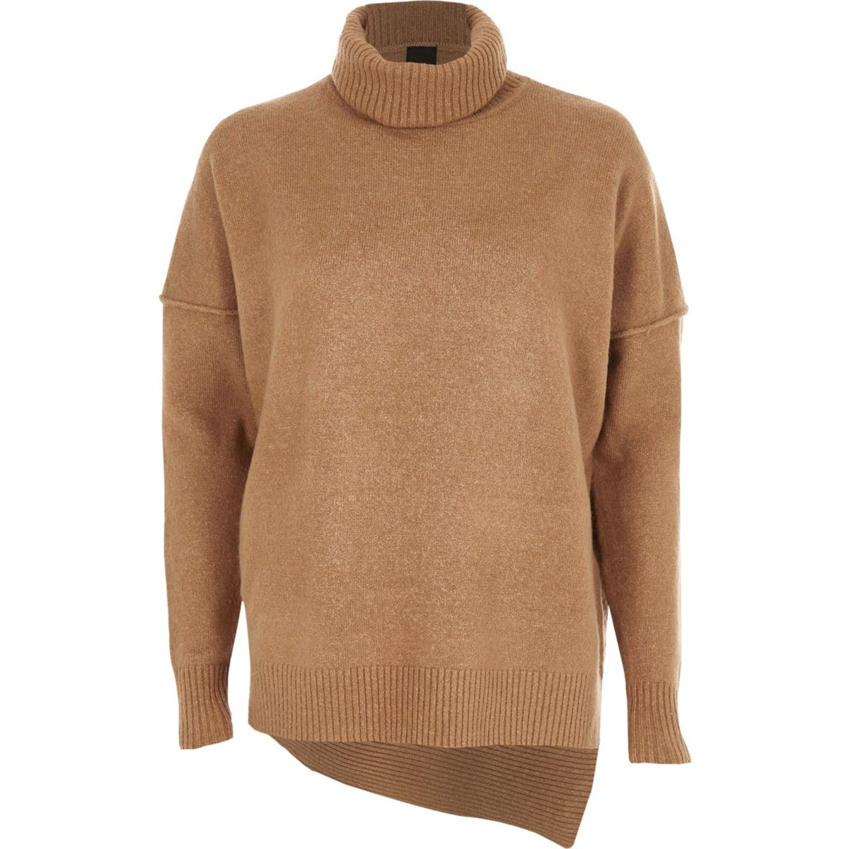 Camel asymmetric hem roll neck knit jumper