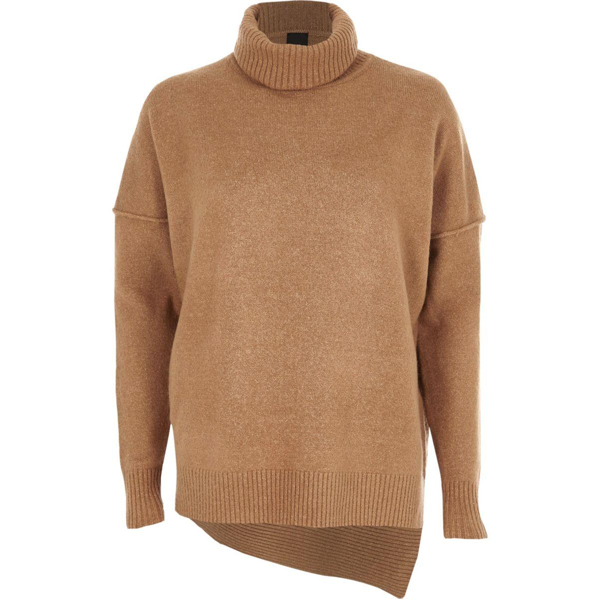 Camel asymmetric hem roll neck knit sweater