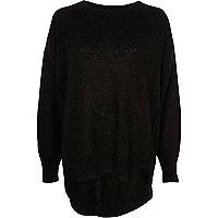 zwarte pullover van mohair met ronde hals