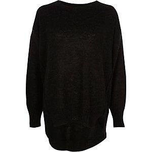 Schwarzer Mohair-Pullover mit Rundhalsausschnitt