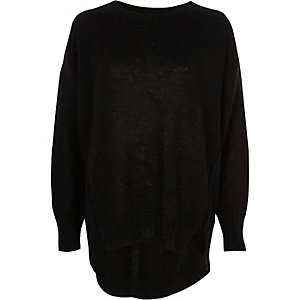 Black crew neck mohair sweater