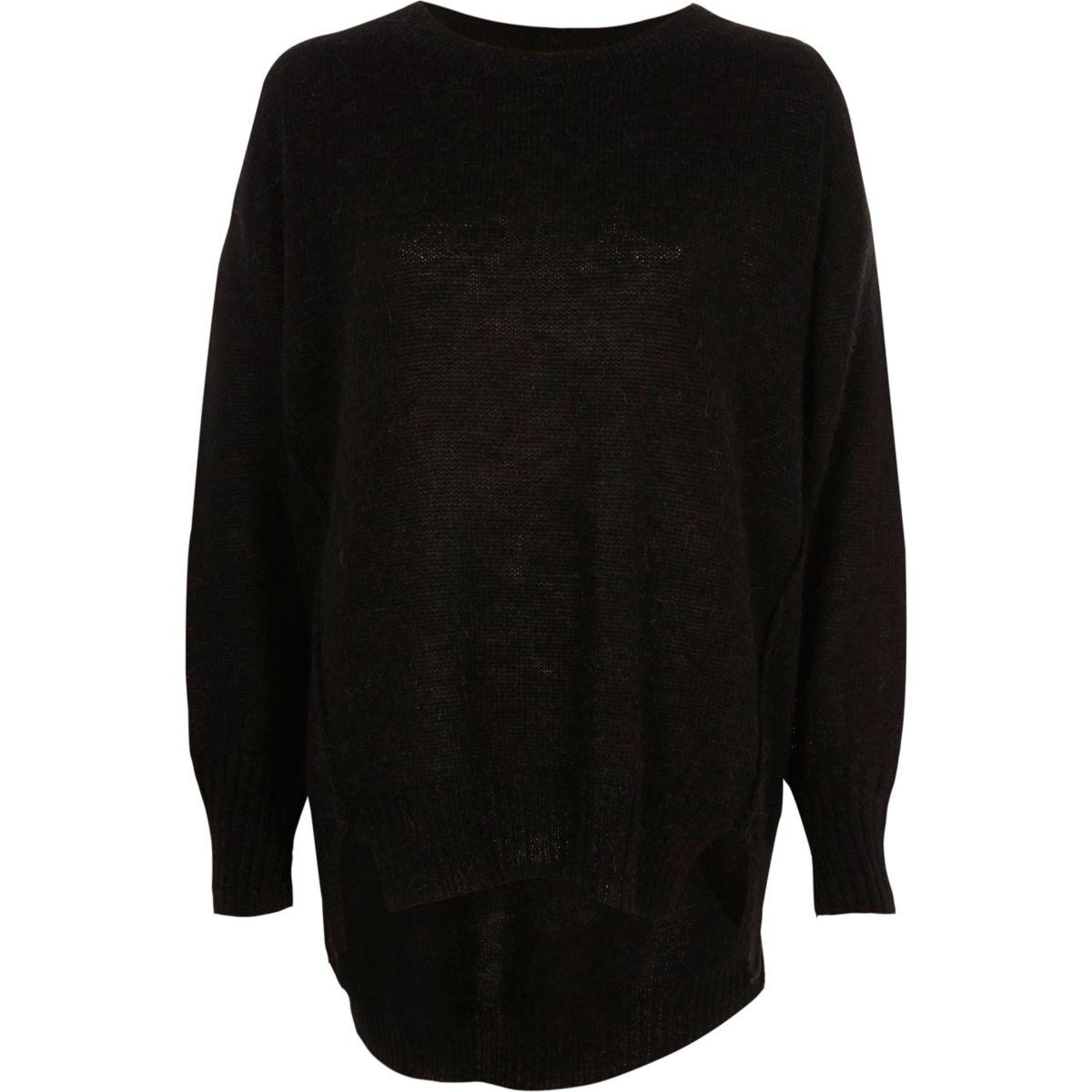 Black crew neck mohair sweater