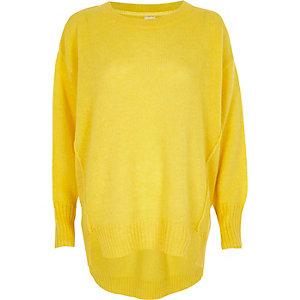 Pull à col ras du cou jaune en mohair