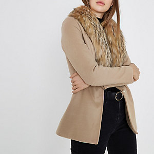 Camel faux fur collar pea coat
