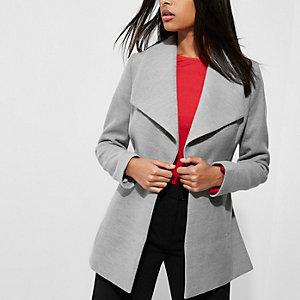 Grey short belted robe coat