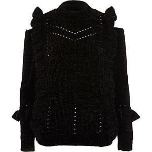 Black chenille frill cut out shoulder sweater