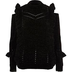 Zwarte chenille pullover met ruches en uitsneden bij de schouder