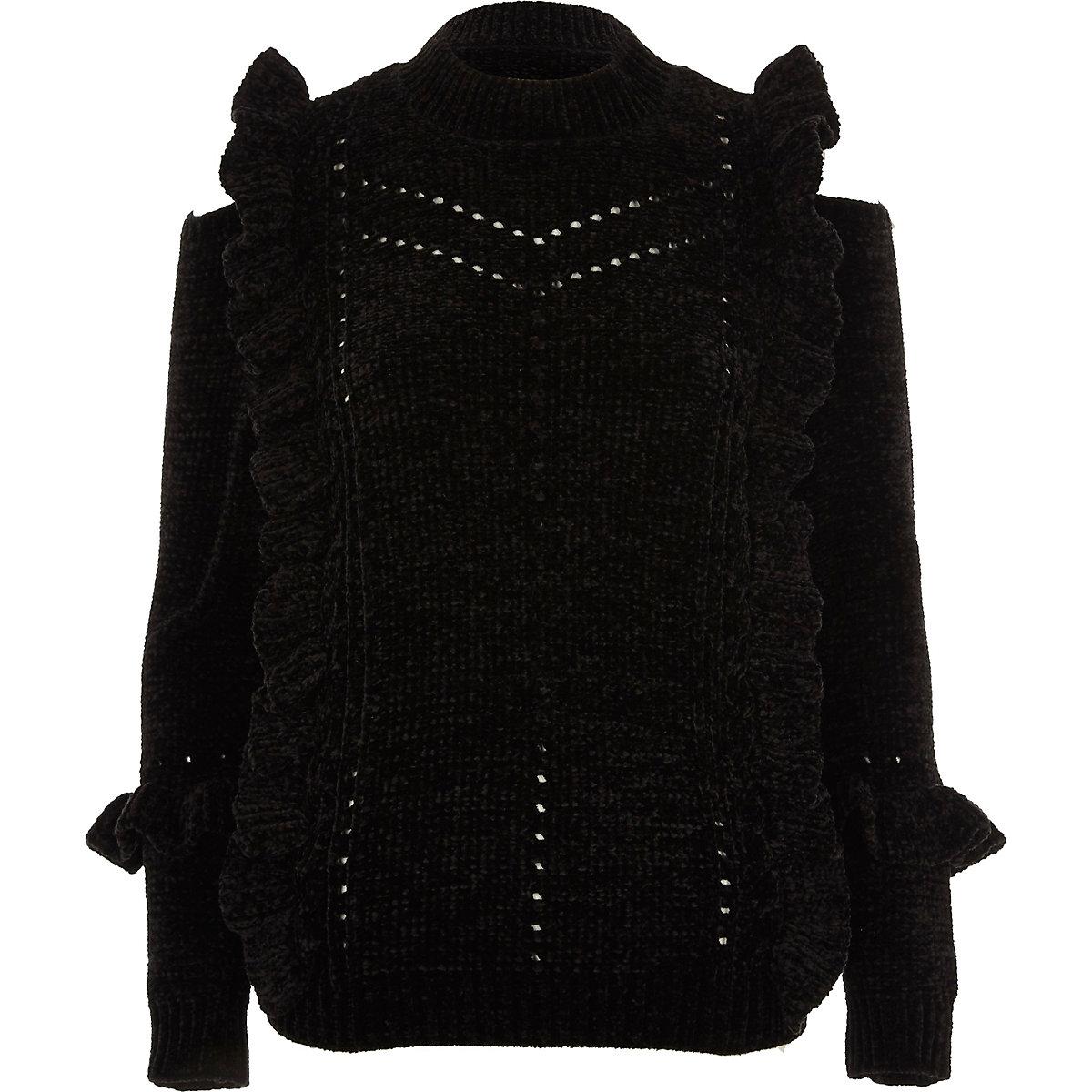 Black chenille frill cut out shoulder jumper