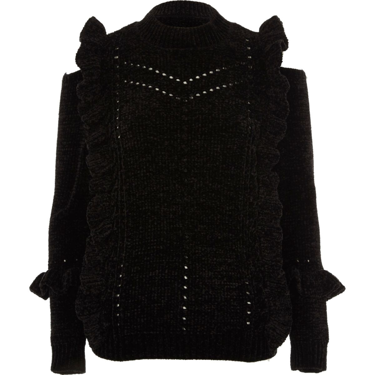 Black chenille frill cut out shoulder jumper