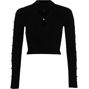 Black faux pearl cut out long sleeve knit top
