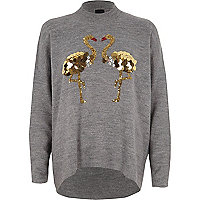 Dark grey sequin flamingo turtle neck jumper