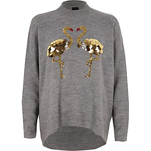 Dark grey sequin flamingo turtle neck sweater