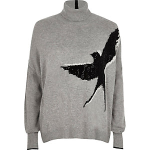 Grey stud embellished bird roll neck jumper
