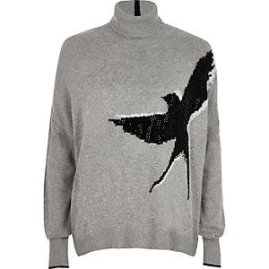 Pull gris motif oiseaux clouté à col montant