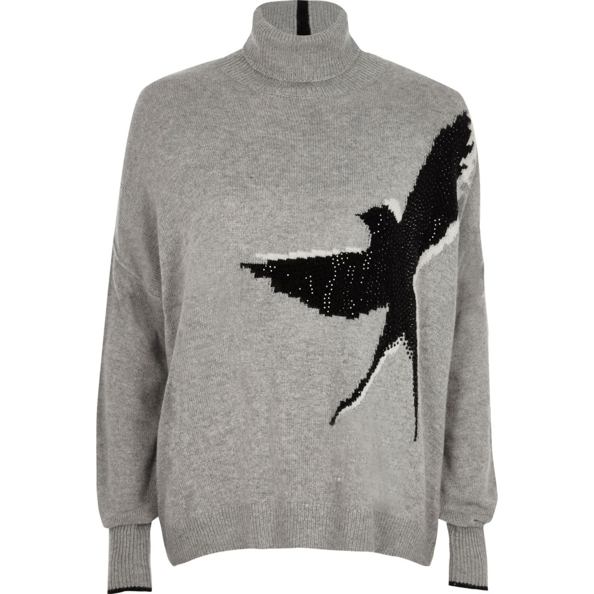 Grey stud embellished bird roll neck jumper