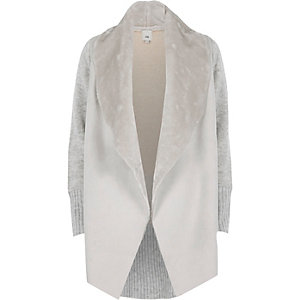 Light grey faux shearling fallaway cardigan