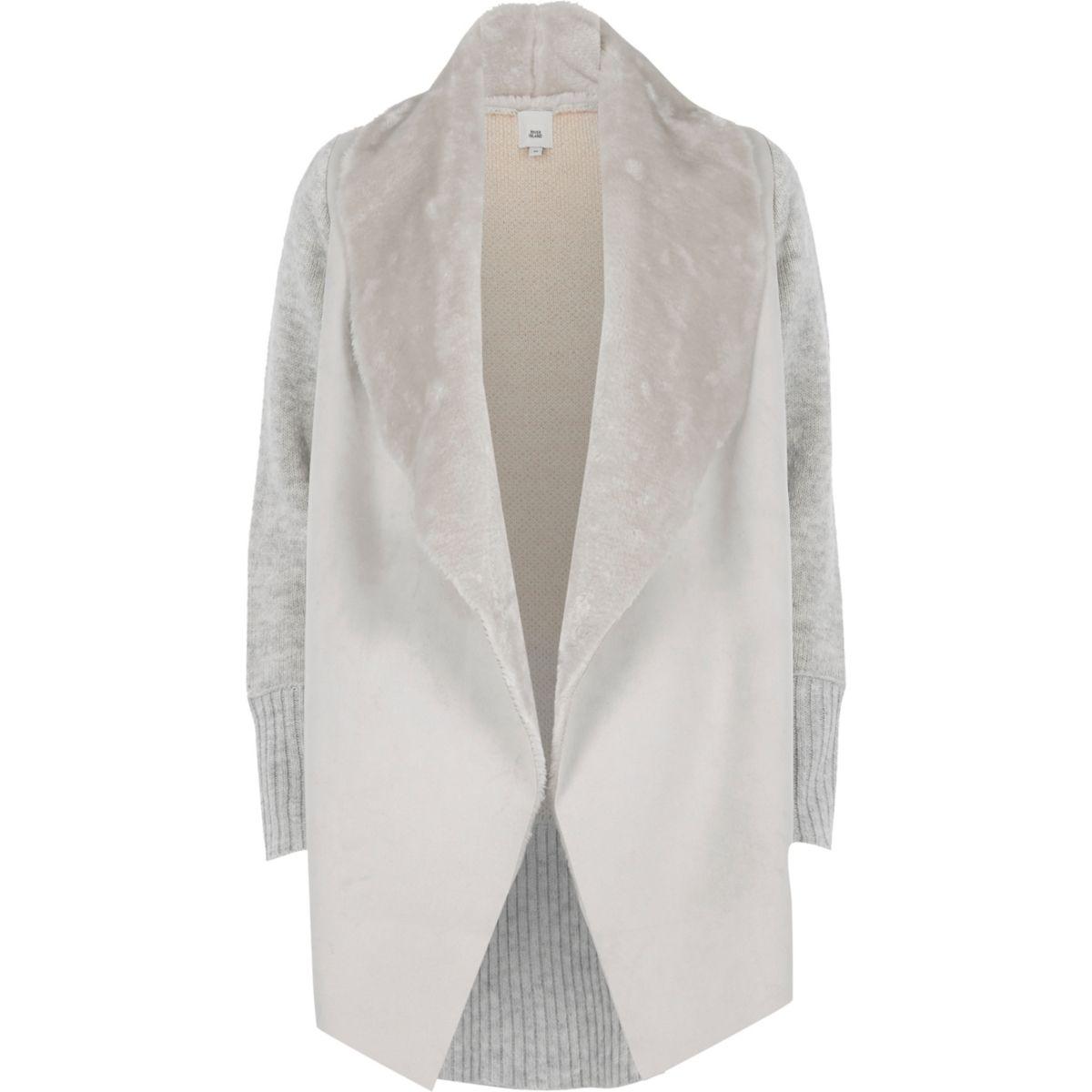 Light grey faux shearling fallaway cardigan