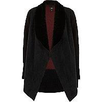 Black faux suede knit back cardigan