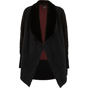 Black faux suede knit back cardigan