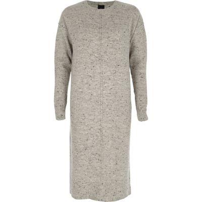 River Island Grijze neppy gebreide mini-jurk met lange mouwen