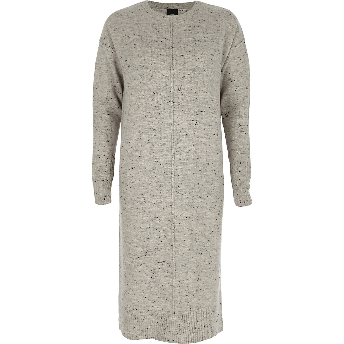 Grey neppy long sleeve knitted midi dress
