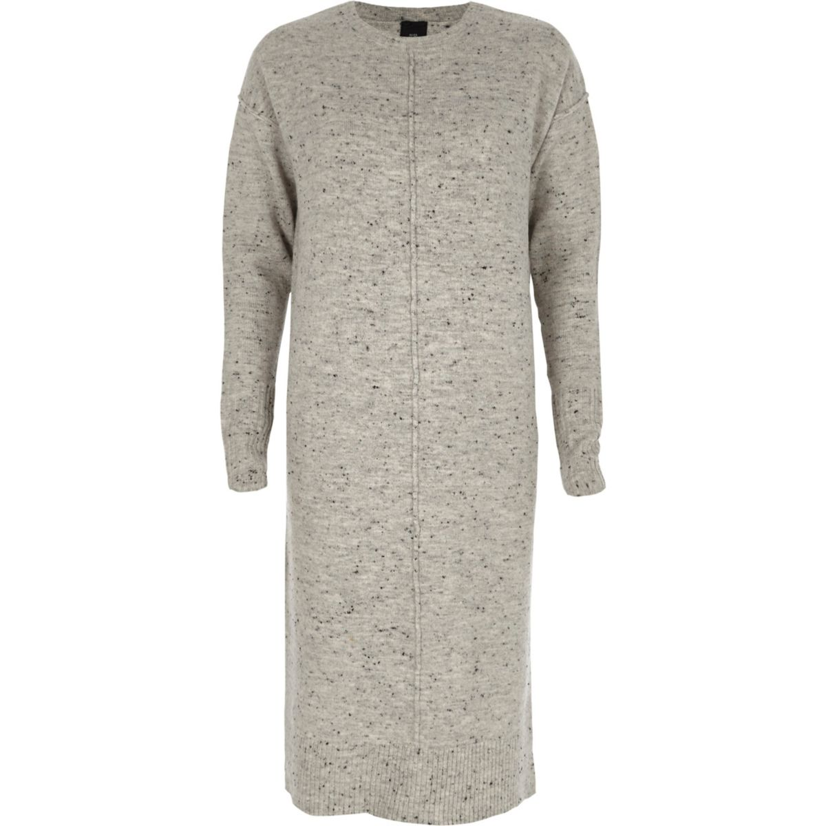 Grey neppy long sleeve knitted midi dress