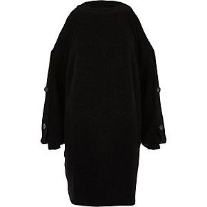 Schwarzes Pulloverkleid mit Knöpfen