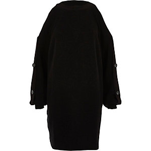 Black button sleeve knit sweater dress