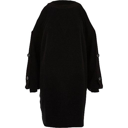Black button sleeve knit sweater dress