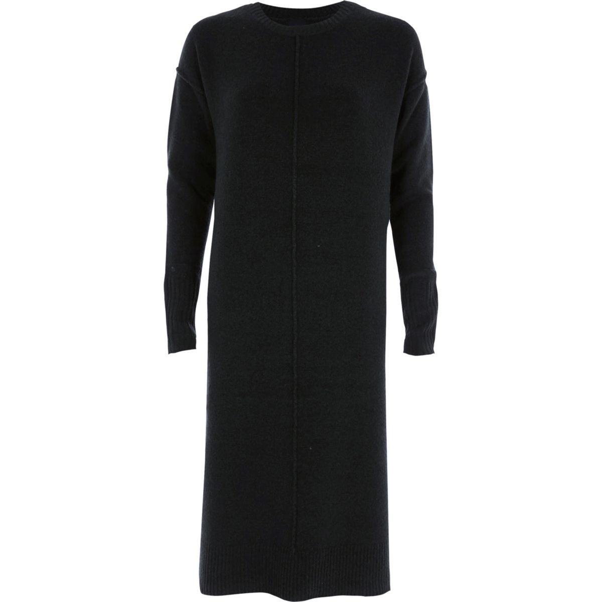 Dark green long sleeve knitted dress