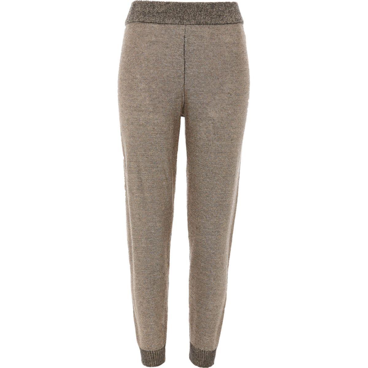 Dark grey metallic knit joggers