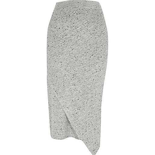 Grey neppy knit wrap front midi skirt
