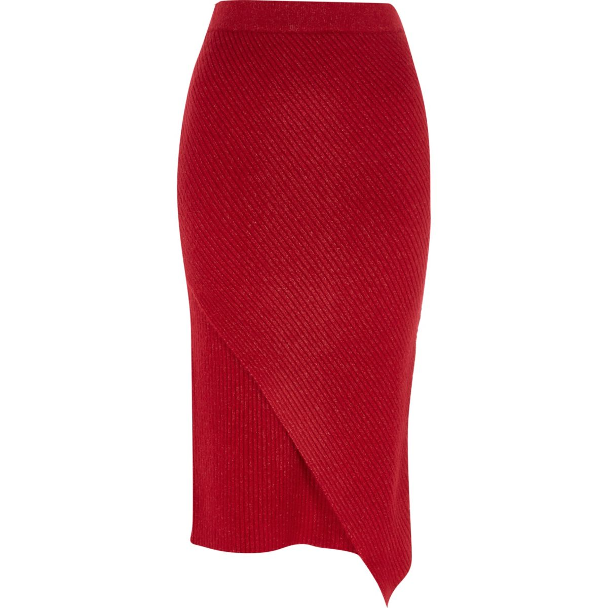 Red knit wrap front midi skirt