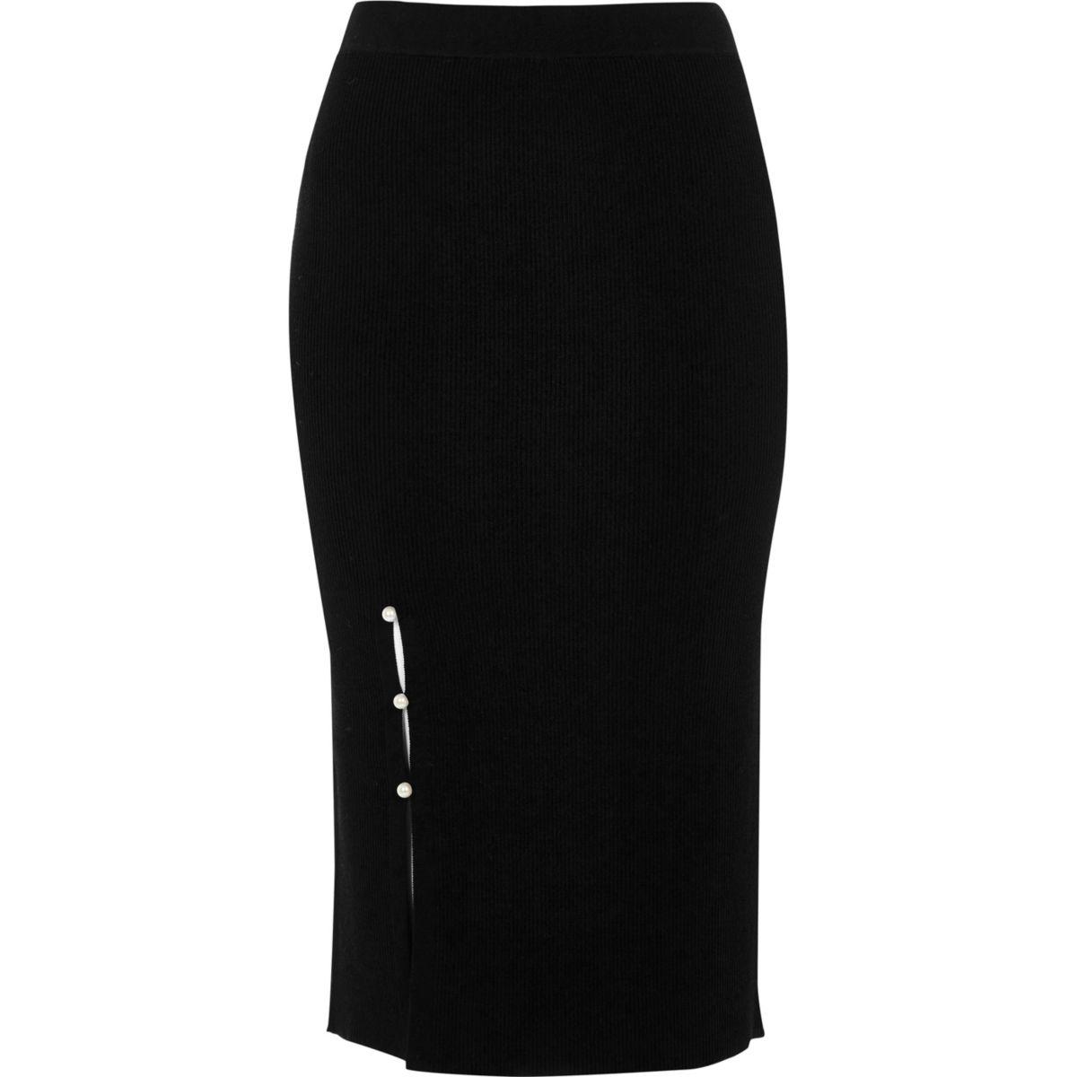 Black faux pearl split knitted pencil skirt