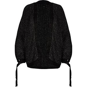 Black metallic chunky knit tie cuff cardigan