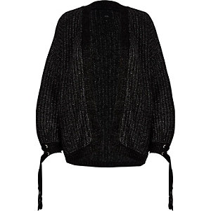 Zwart metallic grofgebreid vest met strik op de manchetten