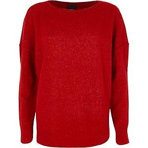 Roter, langärmeliger Pullover mit asymmetrischem Saum