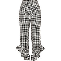 Black gingham frill hem cropped pants