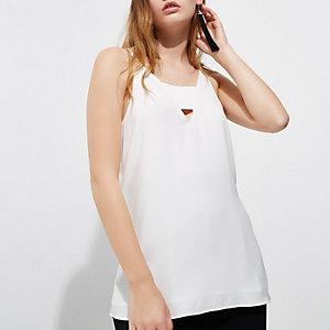 White V neck panel cami top