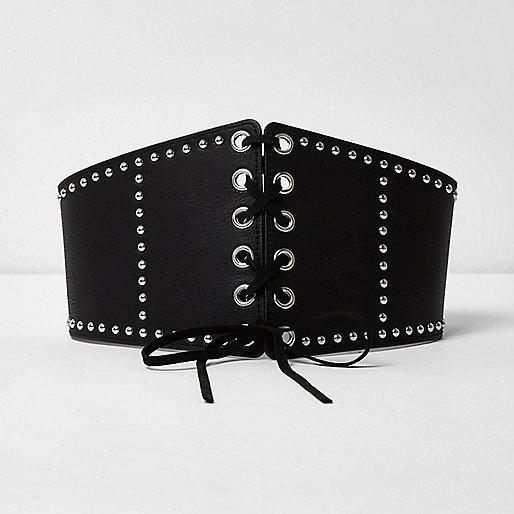 Black studded wide lace-up waist belt