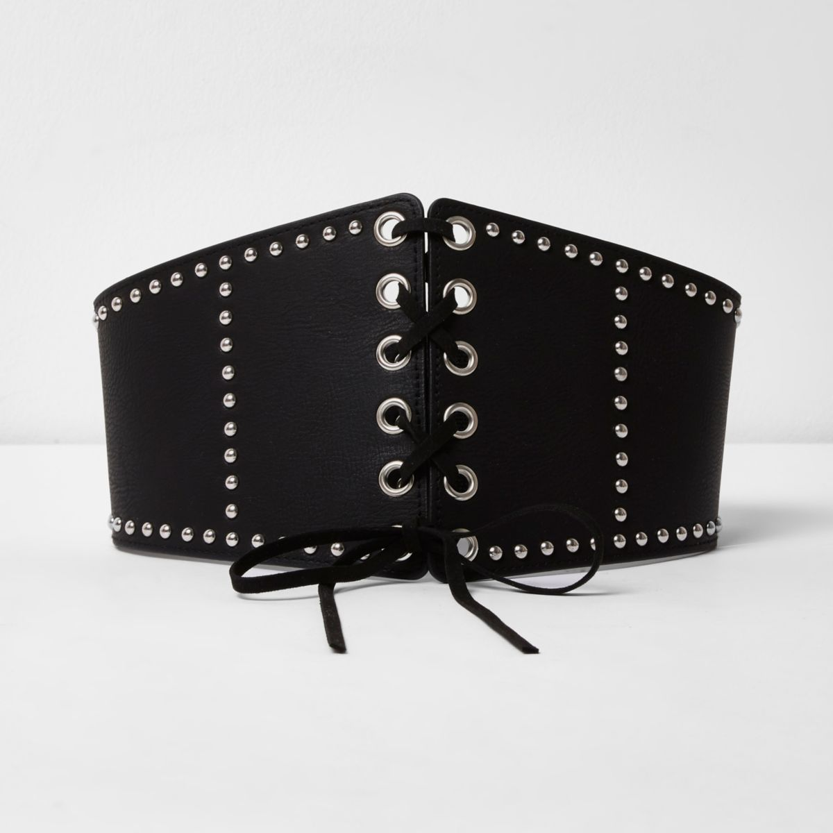 Black studded wide lace-up waist belt