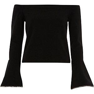 Black bardot embellished bell sleeve top