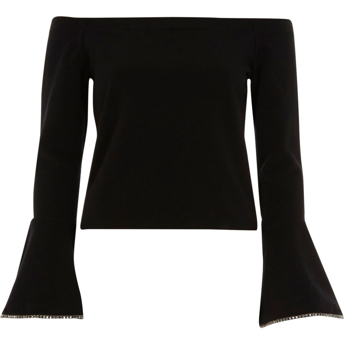 Black bardot embellished bell sleeve top